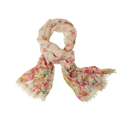 Pashma Floral Scarf More luxurious than most fashionable floral scarfs. Pashmina cashmere with silk and linen.