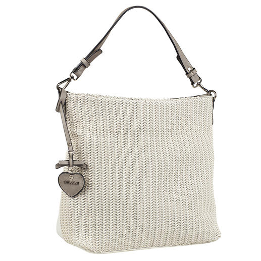 Emily & Noah Plaited Tote Bag White tote bag in plaited look: On-trend and at a pleasantly affordable price.