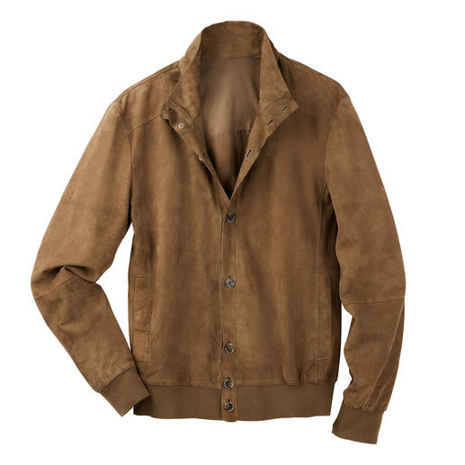 Oconi Goat Velours Leather Blouson Jacket Summery and airy without disagreeable lining. And weighs only 590g (19.4 oz).
