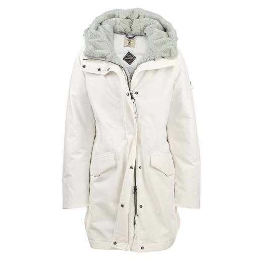 Aigle Gore-Tex Down Parka Warm. Waterproof. In fashionable white. And machine washable. By Aigle.