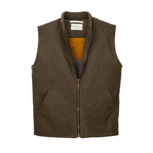 Peregrine Waxed Cotton Waistcoat The proven weather protection of waxed cotton – finally without getting greasy fingers.