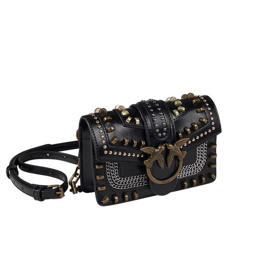 Pinko Studded Belt Bag On-trend belt bag as a chic signature piece. It brand Pinko gives the trend bag a glam-rock red carpet look.