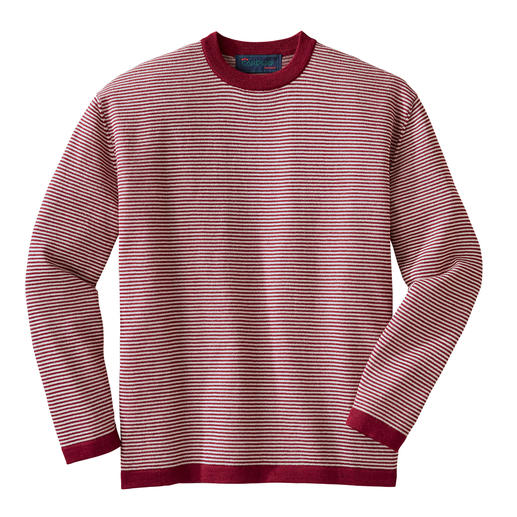 Feather-light. Wonderfully warm. And not too thick. Striped pullover made of 100% alpaca wool for year-round wear. By Carbery/Ireland.