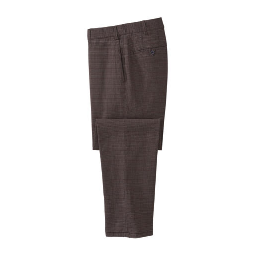 Hiltl Wool Look Glen Check Trousers - Business-appropriate virgin wool look – but made of soft, scratch-free cotton flannel.