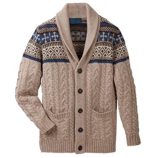 Carbery Cardigan With Shawl Collar With shawl collar, cable knit and Norwegian pattern. A masterful piece of knitting from Carbery of Clonakilty.