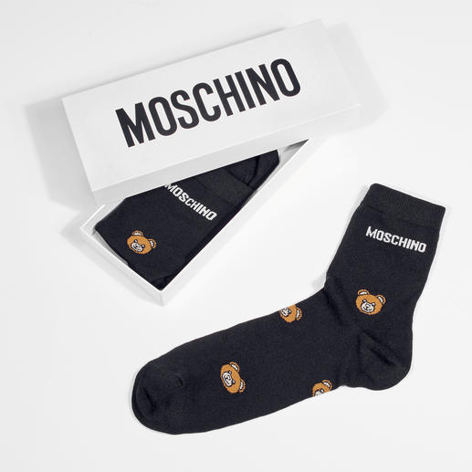 Moschino Teddy Bear Socks and Knee-highs with Wording Stylish look, affordable price, classy packaging: The ideal gift for all fashionistas.