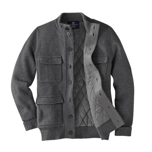 Warm and wind & water repellent: The knitted outdoor cardigan. Warm and wind & water repellent: The knitted outdoor cardigan. By Alan Paine, England.