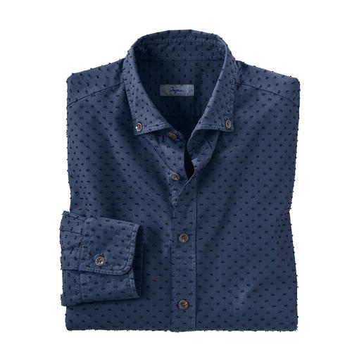 Ingram 3D Dotted Shirt Elaborately made following the shearing process. From Italian shirt specialist Ingram.