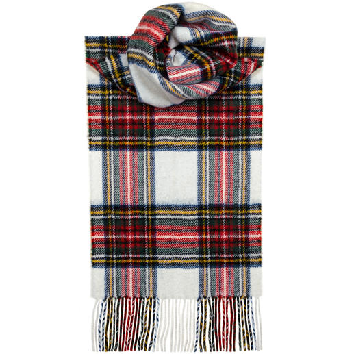 Lochcarron Tartan Scarf Original Thompson Camel Modern pattern. Pure lambs wool. Made in Scotland by Lochcarron.