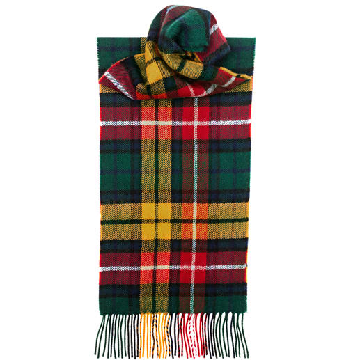 Tartan scarves are everywhere now. Yet only a few are registered tartans. Original Thompson Camel Modern pattern. Pure lambs wool. Made in Scotland by Lochcarron.