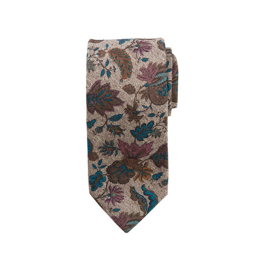 Ascot Floral Tweed Tie - Floral print on silk tweed: Both the pattern and material make this tie so interesting. Made by Ascot/Germany.