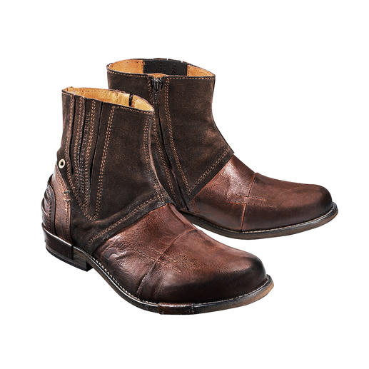 Buffalo leather boots are an absolute rarity. Buffalo leather boots are an absolute rarity. Rustic and indestructible. By Yellow Cab, New York.