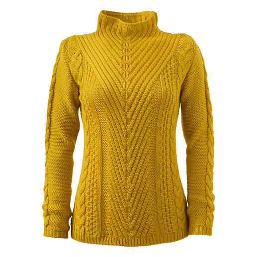 Rarely does a pullover combine so many exciting structures. Rarely does a pullover combine so many exciting structures. Made in England. By Peregrine.