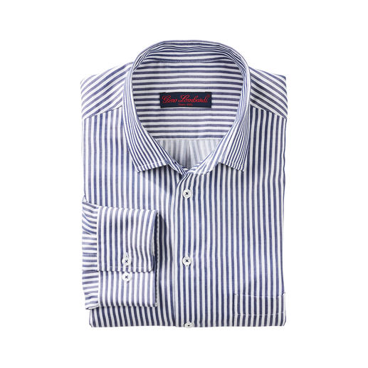 One of the most sophisticated fashionable block stripe shirts. Sophisticated fashionable block stripe shirts. A pleasure against the skin: Batiste fabric with 33% silk.