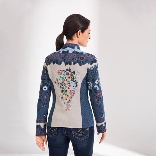IVKO Jacquard Jacket Alpin Flowers - Exceptional multicoloured jacquard knit. A truly unique piece from Serbia. By IVKO.