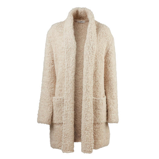 Light Bouclé Cardigan Chunky look. Contemporary length. Weighs only 550 grams (1.2 lbs).