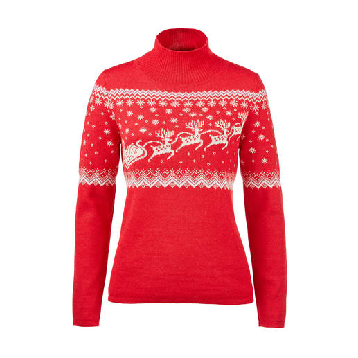 A rarity made of the finest baby alpaca wool: Norwegian Santa Claus pullover. Wonderfully soft. Incredibly hard-wearing. Ingeniously knitted jacquard.