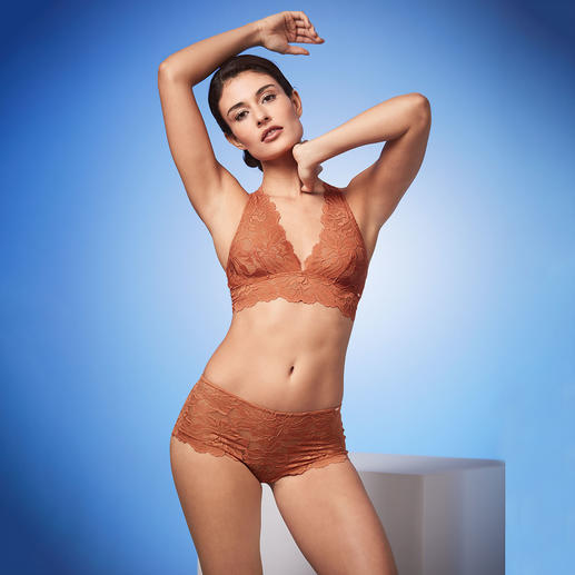 Skiny Lace Bralette and Briefs Lace bralette and briefs in trendy cinnamon colour. By underwear specialists Skiny, Austria.