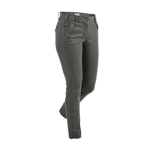 Recover Check Skinny Jeans Stylish check in muted trend colours. Adult cut with raised waist at the back.