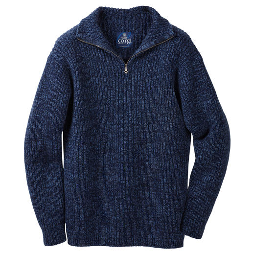 6-ply Cashmere Zip-neck Pullover, men - 6-ply cashmere. Only 200 articles in the world are made in 2019. Elaborately handmade zip-neck pullover.