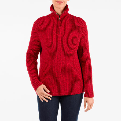 6-ply Cashmere Zip-neck Pullover, women - 6-ply cashmere. Only 200 articles in the world are made in 2019. Elaborately handmade zip-neck pullover.