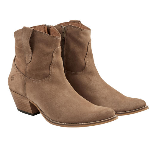 Bang on-trend cowboy boots that make a great fashion classic. Iconic shape. Natural-coloured suede. Distinctive stitching. No frills. By Apple of Eden.