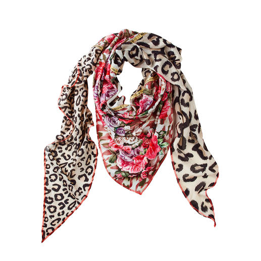 Plomo o Plata XXL Triangular Shawl Leopard skin print, flowers & camouflage: The XXL triangular-shaped shawl.