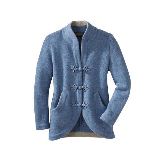 Mirabell Soft Felted Woollen Jacket Airy knitted texture. Distinctive cut-away style. Handmade trimmed fasteners. By Mirabell, Salzburg.