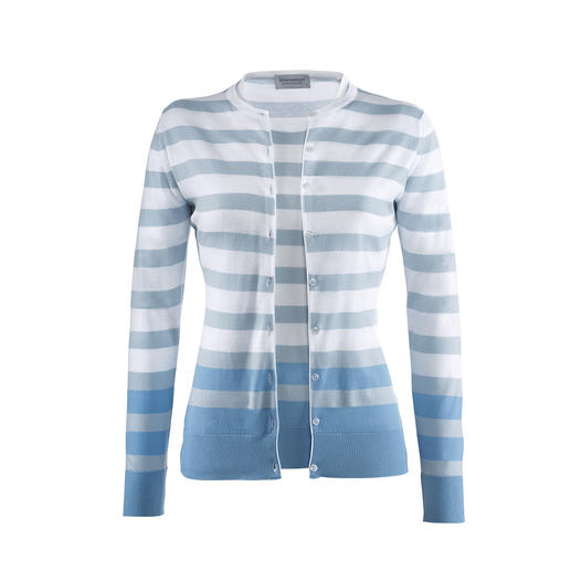 Smedley Twin Set with Block Stripes, White/Blue On-trend colours, fashionable stripes. The fine knit twin set by John Smedley, England.