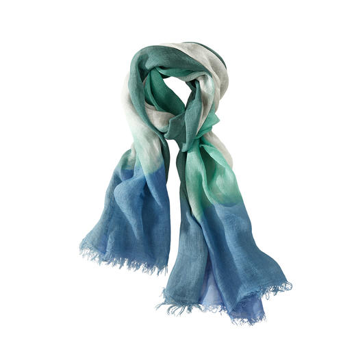 Ancini Dip-Dye Linen Scarf Unique: Linen scarf with artistically hand-dyed shading. Made in Italy. By Ancini.