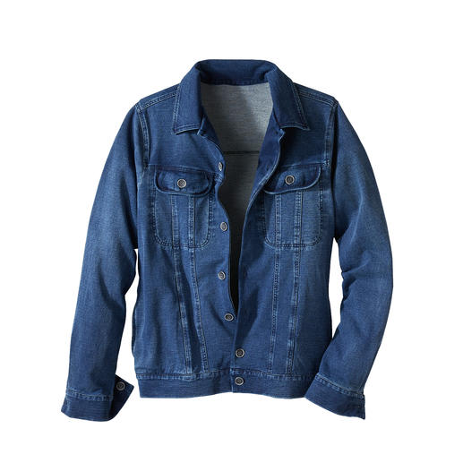 Jersey Denim Jacket The classic denim jacket – finally as comfortable as your favourite cardigan.