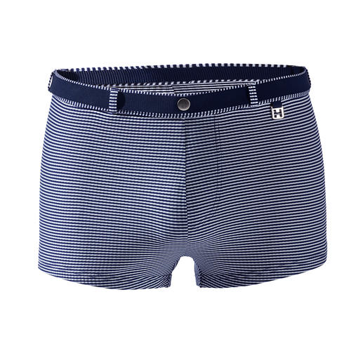 HOM Striped Swimming Trunks Less shiny, more stylish and more durable than most. Jacquard woven swimming trunks by HOM, France.