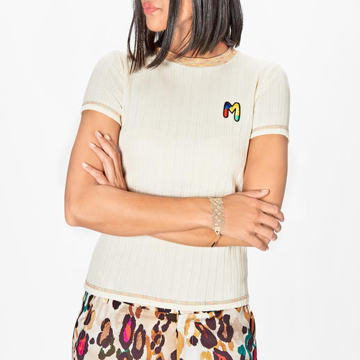 M Missoni Basic Knitted Top Finest rib knit. Fresh colour accents. Hand-embroidered logo. By M Missoni.