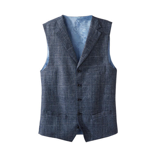 You can now leave your sports jacket in the wardrobe on warm days. This stylish, lightweight linen and virgin wool waistcoat is the perfect alternative.