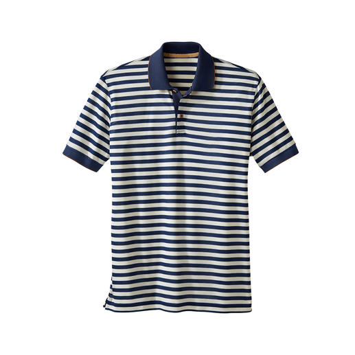 Striped Piqué Polo Shirt The piqué top with a silky soft difference. Fluid, cooling and with a fashionable shimmer.