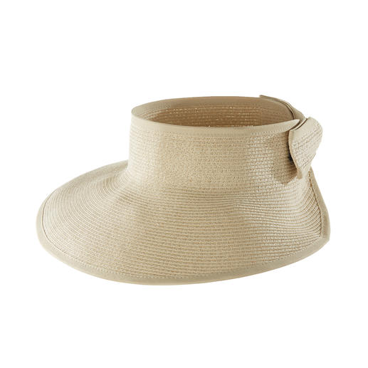 Loevenich Paper Straw Braid Visor Large sun protector – conveniently rolls up to a compact size for storage. By Loevenich.