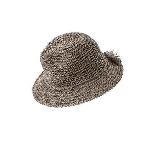 Loevenich Paper Fedora or Bag Raffia look without danger of breakage: On-trend accessories, hand-crocheted from paper. By Loevenich.