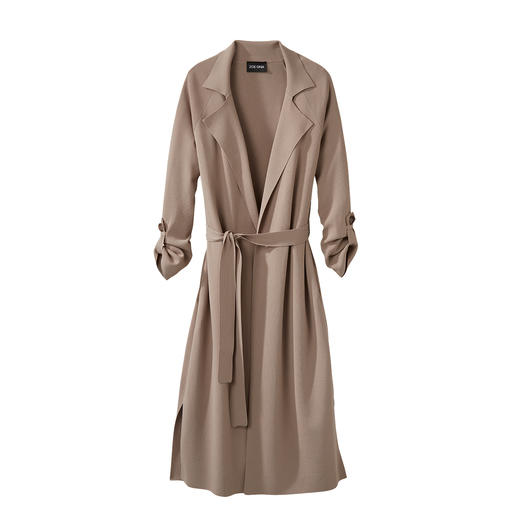 ZOE ONA Knitted Trench Coat Classic trench coat details. On-trend long length. Fluid viscose knit. At a sensational price.