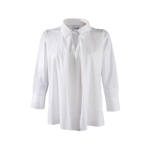 aybi Tunic Style Blouse Anything but dull: The classic white blouse basic with a fashionable upgrade.