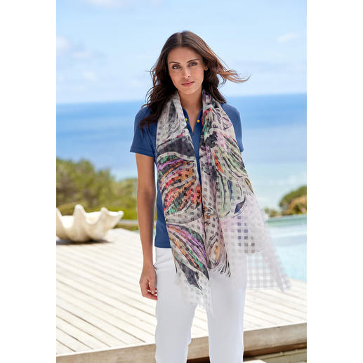 Checked Floral Scarf