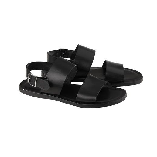 Calfskin Leather Sandals Soft calfskin leather. Seamlessly integrated shock-absorbing footbed. Adjustable heel strap.