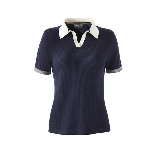 Airier than normal polo shirts, and much softer. Made from rare Giza cotton – processed by German knitwear specialist, Seldom.