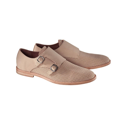Perforated Double Monk Shoes The rare summer monk shoes made of perforated nubuck, with durably sewn outsole.