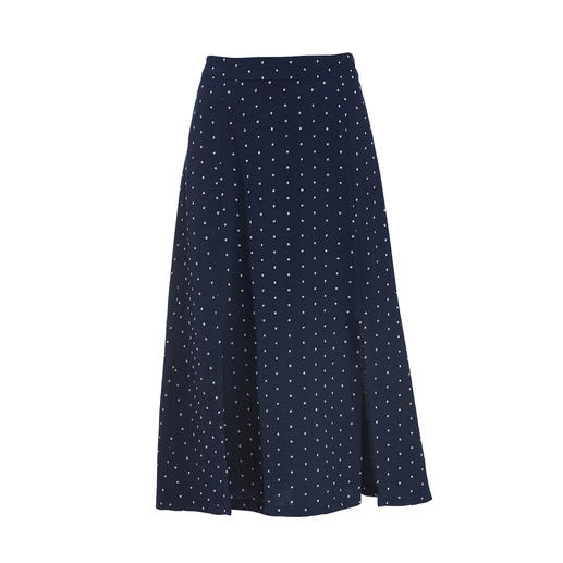Polka Dot Midi Skirt Modern midi length. Fashionably immortal polka dot design. Lightweight, wrinkle-free material.