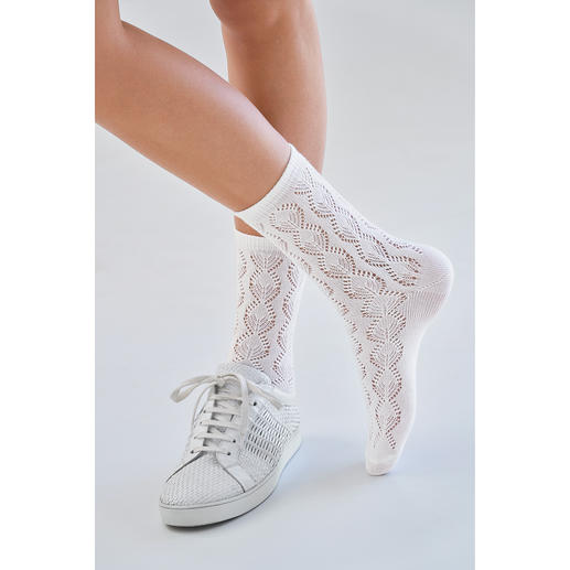 von Jungfeld Pointelle Crocheted Socks Fashionably important: Crocheted socks. Just right: Those by stocking specialists von Jungfeld.