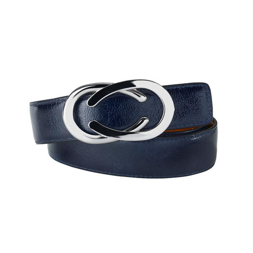Nubuck creased patent leather: Fashionable, elegant and sturdy. Nubuck creased patent leather: Fashionable, elegant and sturdy. The versatile reversible belt by Belts.