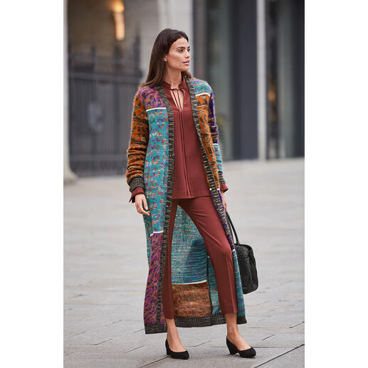 Fashion piece of art par excellence: Mohair knitted maxi-coat from couture knitwear label M Missoni. Fashion piece of art par excellence: Mohair knitted maxi-coat from couture knitwear label M Missoni.