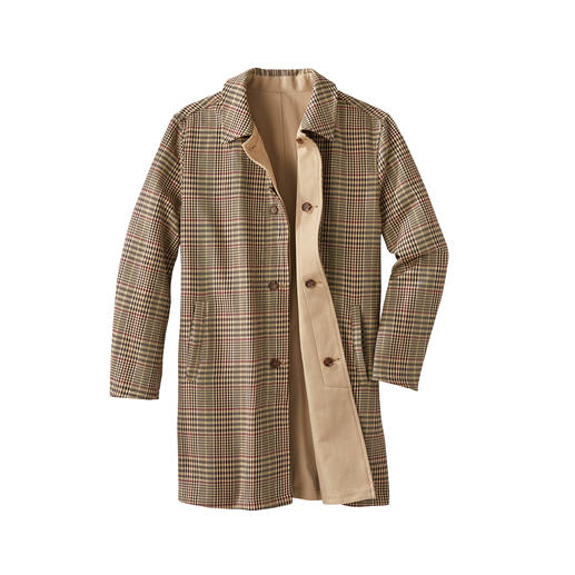 Reversible Cotton Coat Reversible: Classic coat with two looks. Today timeless beige. Tomorrow fashionable dogstooth check.