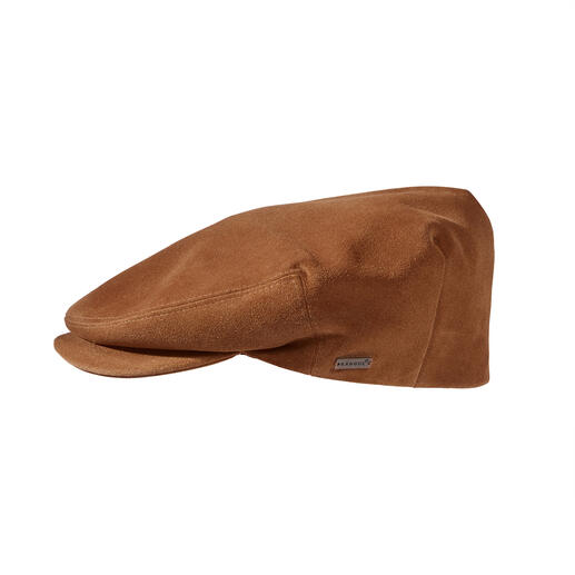 Kangol® suede flat cap Much smoother (and at the same time more durable) than the currently trending cloth flat caps.