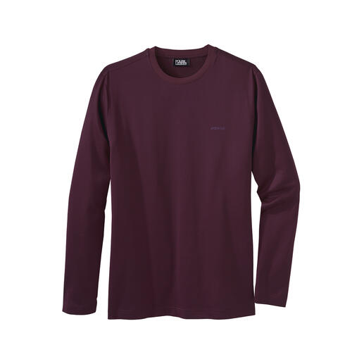 Karl Lagerfeld Long-Sleeve Basic Finely shimmering, minimalistic and slimline: Karl Lagerfeld's long-sleeve shirt made from mercerised cotton.